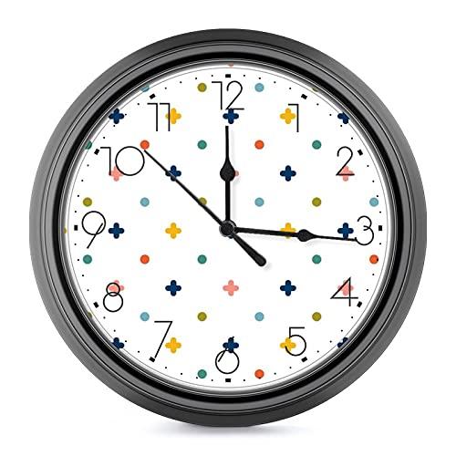DOT 형상의 패턴 10 인치 대형 벽 시계-자동 체크-벽 시계 거실을 위한 장식을 위해 적당한 가족 주택 학교 부엌 사무실 거실