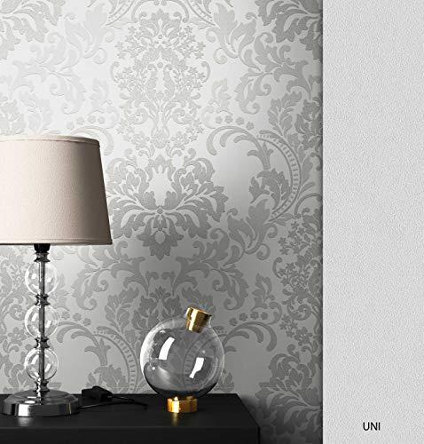 NEWROOM Barocktapete Tapete Grau Ornament Barock Vliestapete Weiß Vlies moderne Design Optik Barocktapete Wohnzimmer Glamour inkl. Tapezier Ratgeber
