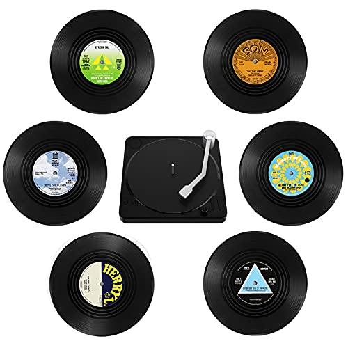 GoldOars 6Pcs Sottobicchieri Retrò in Vinile con Supporto, Retro Vinyl Record CD Sottobicchieri Rotondi Sottobicchieri per caffè Il Freddo Bevande Calde, 10x10x0.2cm (M2)