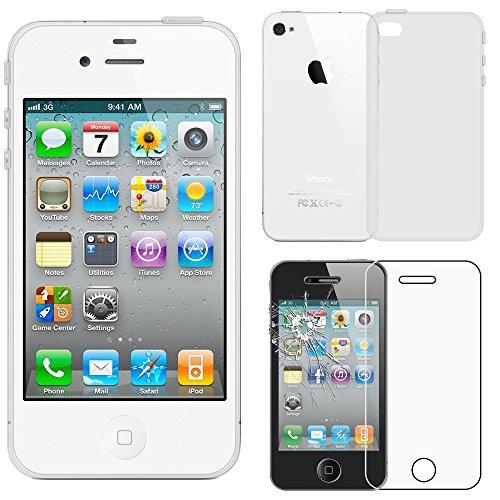 ebestStar - Funda Compatible con iPhone 4, 4S Carcasa Transparente Silicona Gel Estuche Flexible, Transparente + Cristal Templado Protector Pantalla [Aparato: 115.2 x 58.6 x 9.3mm, 3.5'']