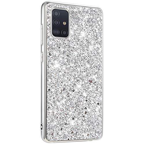 Surakey kompatibel mit Samsung Galaxy A51 Hülle Glitzer Schutzhülle,Glänzend Glitzer Strass TPU Silikon Bumper Handyhülle Stoßfest Hart PC Hülle Case Tasche für Galaxy A51,Silber