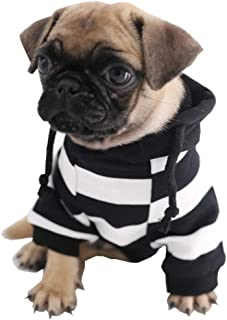 Kitipcoo Pet Dog Clothes Dog Cap Hoodies for Small Dogs, Stripes Puppy Dog Winter Coat Dog Pajamas Costume Dog Apparel Dog Outfits for Pug Bulldog Corgi Schnauzer Poodle Clothes