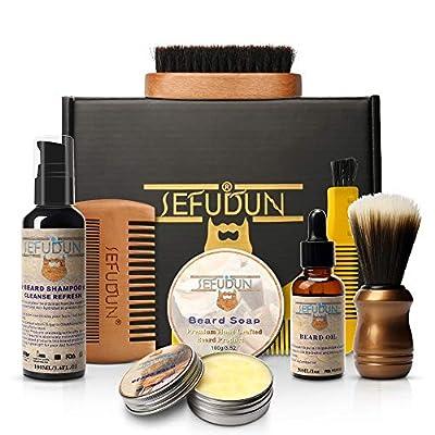 SEFUDUN 8-in-1 Beard Grooming Kit for Men,Beard soap+ soft brush +Beard brush+ Beard comb +Beard Balm Template comb+Beard oil + Beard shampoo+ gift bag