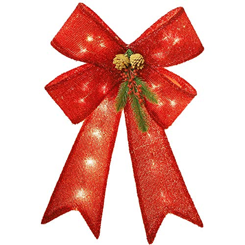 YOFIT Bowknot Christmas Tree Topper Decorative Bows, Christmas Glitter Red Bow with Realistic Red Berries Pine Cones Needles for Indoor Outdoor Christmas Tree Parties Decorations