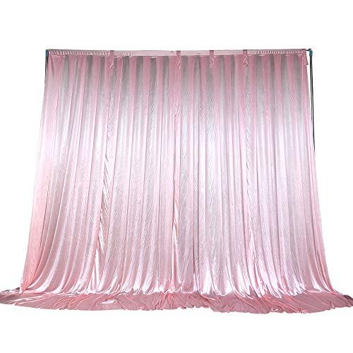 Cortina de telón de fondo HAORUI para decoración de bodas, seda de hielo, Rosa, 3 m