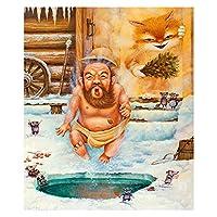 大人の子供のための油絵キットのアクリルのためのDIYペイント、家庭用壁の装飾クリスマスギフト - 風呂の老人男性 (Size : 40x50cm)