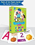 Pack of 64 multi-coloured premium quality flash cards 26 Alphabet cards, 20 Number cards, 18 Shape & Colour cards Non-tearable & water resistant Ideal for kids in the age group of 1 to 6 years Attractive & sturdy packaging