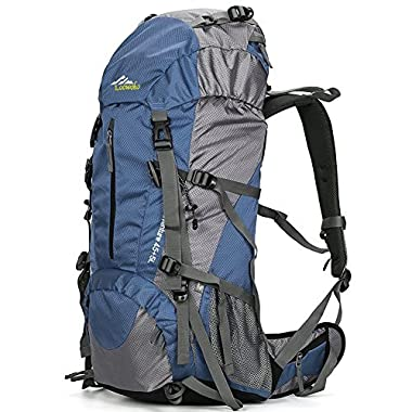 Loowoko Hiking Backpack 50L Travel Daypack Waterproof with Rain Cover for Climbing Camping Mountaineering by (Dark Blue)