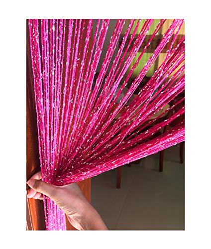 Eyotool 1x2 M Door String Curtain Rare Flat Silver Ribbon Thread Fringe Window Panel Room Divider Cute Strip Tassel for Wedding Coffee House Restaurant Parts, Rose Red