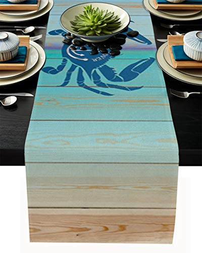 Our Wings Linen Burlap Table Runner - Blue Ocean Lover Crab Anchor Prints on Wooden Plank - 14'x72' - Cotton Linen Farmhouse Table Runner for Catering Events, Dinner Parties, Wedding, Spring Holiday