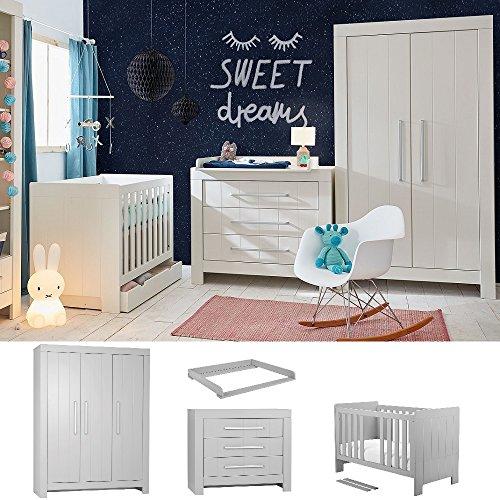 Babyzimmer Kinderzimmer komplett Cannes weiß MDF Set B Bett 140x70 Schrank 3 tür. Kommode mit Schubladen weiß oder grau