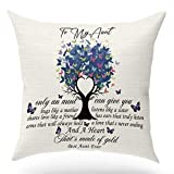 KongMoTree Gifts for Aunt with Inspirational Words Throw Pillow Case Cushion Cover,only an Aunt can give You hugs Decor Square Linen Home Decoration for Couch Sofa Bedroom Outdoor Bench 18x18 inch