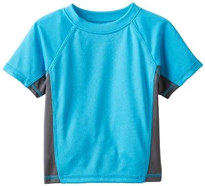 Kanu Surf Boys' Big Short Sleeve UPF 50+ Rashguard Swim Shirt, CB Aqua, Medium (10)