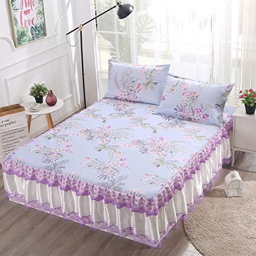 Hllhpc Zomer machine wasbaar ijs zijde mat driedelige bed rok