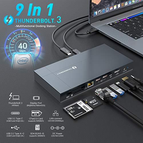Thunderbolt 3 USB C Dockingstation Hub mit 8k Display, Gigabit Ethernet, 3 * USB 3.1 Gen 2, SD 4.0, CFAST 2.0, Thunderbolt 3 Dock für Mac, Windows und Oberfläche (0,8 Mt Intel Certified TB 3 Kabel)