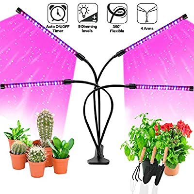 LED Grow Lights for Indoor Plants, JUEYINGBAILI 80W Full Spectrum Plant Lights with Auto ON/Off 3/9/12H Timer, 9 Dimmable Brightness for Indoor Succulent Plants Growth