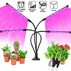 🌻Upgraded Four Heads Plant Grow Light - We designed this Newest Grow Light with four goose necks not only solved the trouble of setup and inflexibility of traditional hanging grow light but also provides a much wider coverage area than clip grow ligh...
