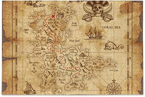 Rompecabezas para adultos 1000 - Mapa del tesoro pirata difícil rompecabezas piezas para tag2 tag1 Juegos de Puzzle