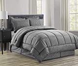 Elegant Comfort Luxury Bed-in-a-Bag Comforter Set on Amazon Wrinkle Resistant - Silky Soft Beautiful Design Complete Bed-in-a-Bag 8-Piece Comforter Set -Hypoallergenic- Full/Queen, Grey