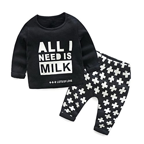 "manadlian Mode Jungen Mädchen 2 Stück Baumwolle Beiläufig Outfits Einstellen, Neugeborenes Säugling Baby Brief ""All Need is Mike Drucken O-Ausschnitt Lange Ärmel Oberteile Hemd Hose (Schwarz, 6M)"