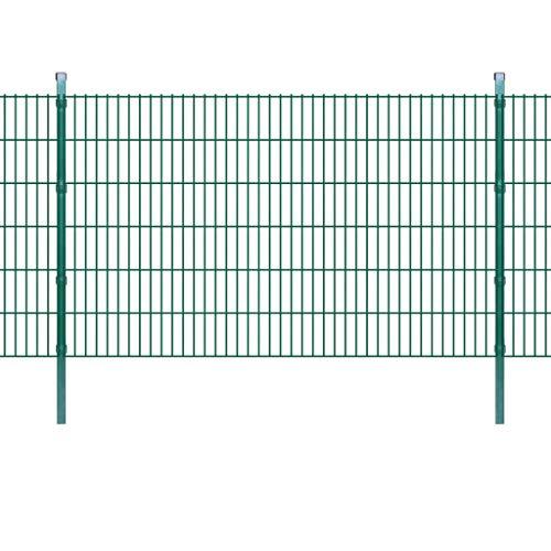 vidaXL Dubbelstaafmat Panelen en Palen Groen Hekpaneel Afrastering Hekwerk Hek