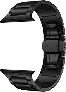 LDFAS Compatible for Apple Watch Band 44mm/42mm, Titanium Metal Watch Replacement Bands Compatible for Apple Watch Series 5/4/3/2/1 Smartwatch, Black