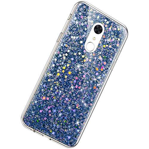 Herbests Kompatibel mit Xiaomi Redmi 5 Hülle Glitzer Mädchen Schuzhülle Kristall Sparkle Bling Strass Diamant Dünn Durchsichtige Transparent Weiche Silikon TPU Handyhülle Tasche Etui,Blau