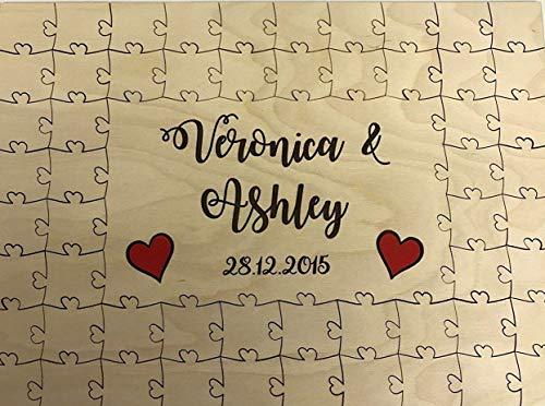 personalisierbar Holz farbige Herzen Hochzeit Gästebuch Puzzle Jahrestag, holz, 72 pieces 500x300mm (20