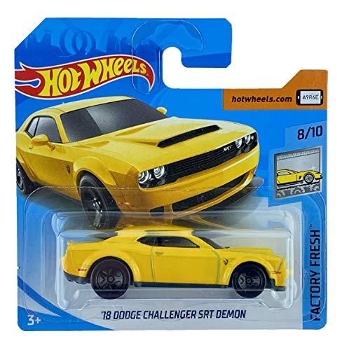 Hot Wheels '18 Dodge Challenger SRT Demon (amarillo) 8/10 Factory Fresh 2018 - 319/365 (tarjeta corta) FJV76