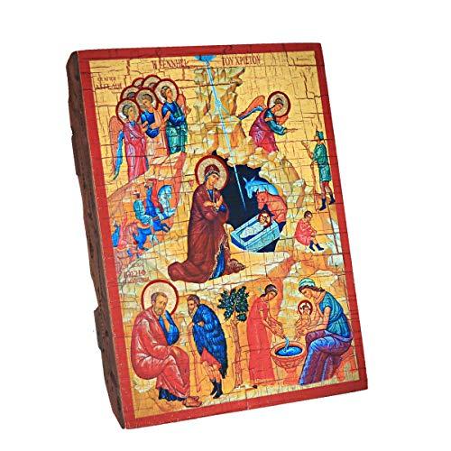NKlaus Geburt Jesu Christi, Weihnachten Christliche Holz Ikone 16x12,5 Handarbeit 37032