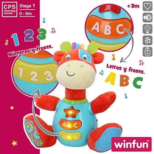 winfun - Peluche Jirafa para bebés que habla y luces de colores, Idioma: Español (85177) , color/modelo surtido