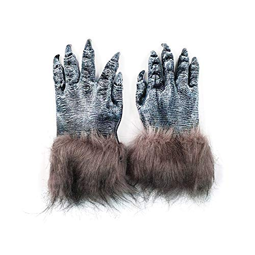 AOTUOTECH Par de Lobo de Halloween Manos de Hombre Lobo Garras Patas Guantes Accesorio de Disfraces de Halloween Adultos