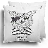 Federa da cuscino set di 2 gufi gatto blu navy pirata animale nautico serigrafia ancora uccello ragazzo capitano cuscino in poliestere fodera per divano letto 45x45 cm