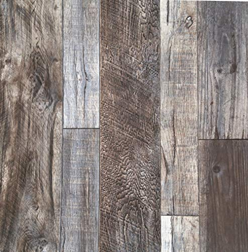 Blooming Wall Barnwood Wood Panel Wood Plank Removable Wallpaper Wall Mural for Livingroom Kitchen Bathroom Bedroom,20.8' x 374', Multicolor