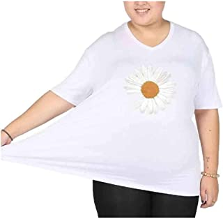 Coolred Women Plus-size Modal Cotton Floral Tribal Short Sleeves V Neck Tees