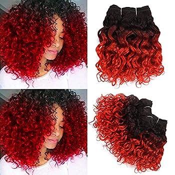 Water Wave Short Human Hair Bundles 8Inch 4 Bundles Ombre 1b/Red Human Hair Weave 50g/Bundle Total 200g Unprocessed Brazilian 9A Remy Human Hair Extensions