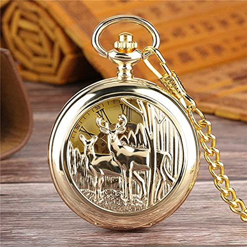 JZDH Reloj de Bolsillo Lujo Doble Cara Open Mecánica Reloj de Bolsillo Mano-Viento Números Romanos Esqueleto Retro Bronce/Reloj Colgante de Oro para Hombres Mujeres (Color : Gold)