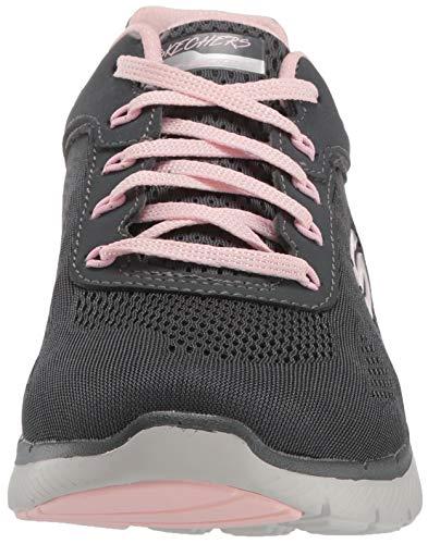 Skechers Flex Appeal 3.0-Moving Fast, Zapatillas Mujer, Gris (CCPK Black Mesh/Duraleather/Silver Trim), 38.5 EU