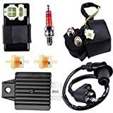 Gy6 Ignition Coil +AC CDI Box Solenoid +Relay +Voltage Regulator +Spark Plug for Tomberlin Crossfire 150R American Sportworks 150 Hammerhead GTS 150cc Go karts Gy6 150cc Engine Scooter Moped Part