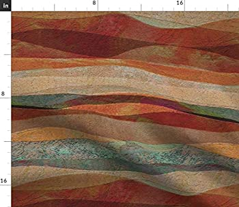 Spoonflower Fabric - Desert Coral Orange Teal Green Turquoise Southwest Art Landscape Stone Printed on Basketweave Cotton Canvas Fabric by The Yard - Upholstery Home Decor Bottomweight