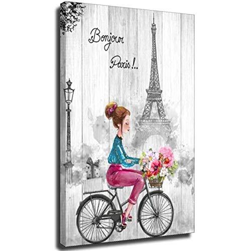 Parijs Canvas Wall Art Zwart En Wit Muur Art voor Slaapkamer Badkamer Roze En Grijs Parijs Thema voor Tiener Meisje Kamer Decor Eiffeltoren Rustiek Schilderen Meisje Rijden Fiets met Bloemen voor Muur Decor Gift F