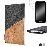 flat.design Handy Hülle Evora für Cyrus CS 24 handgefertigte Handytasche Kork Filz Tasche Case fair dunkelgrau