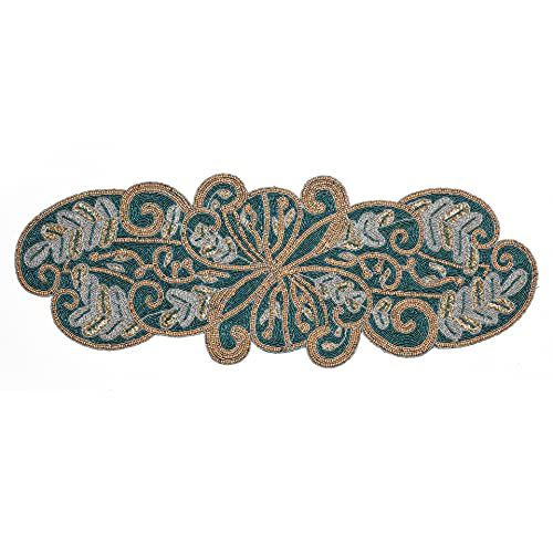Linen Clubs Hand Made Beaded Table Runner 13x36 Inch in scrolled Design Teal Silver Gold Colors,Produced by Skilled Village Artisans in India - A Beautiful Complements to Dinner Table Décor