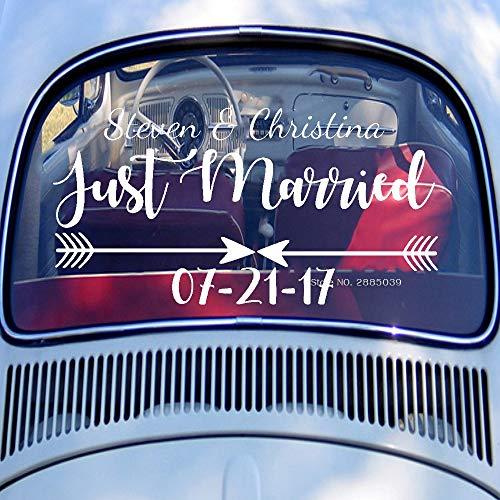 Calcomanías de la ventana trasera del coche recién casados boda calcomanías del logotipo de recién casados nombres de novios personalizados fecha decoración de parachoques del arte L81x42cm