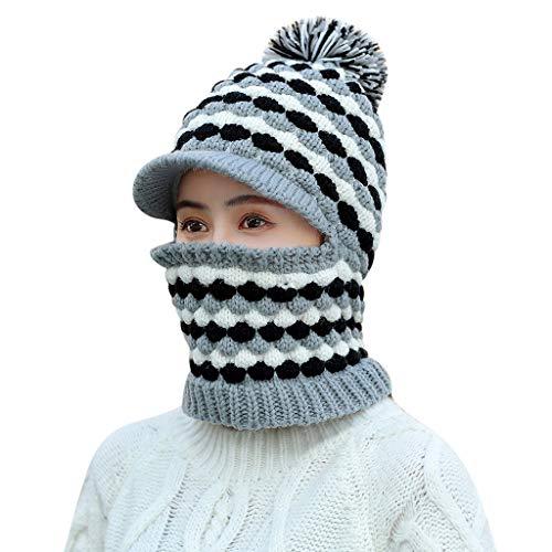 Damen Gestrickte Pullover MüTze Twist Einteilige LäTzchen Wolle GehöRschutz Hut, MäDchen Niedlichen Winter LäSsig Gestrickte BaskenmüTze