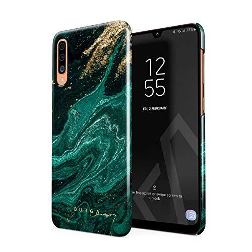 BURGA Hülle Kompatibel mit Samsung Galaxy A50 - Handy Huelle Grün Smaragd Juwel Marmor Muster Emerald Green Gold Marble Mädchen Dünn Robuste Rückschale aus Kunststoff Handyhülle Schutz Hülle Cover