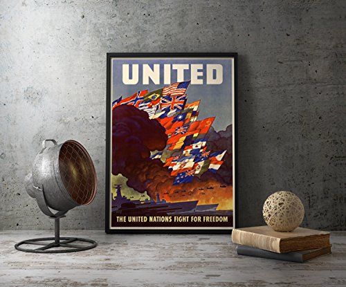 UpCrafts Studio Design American WW2 Propaganda Poster, Size 8.3x11.7 inches - The United Nations Fight for Freedom - WWII Military History Replicas Decor