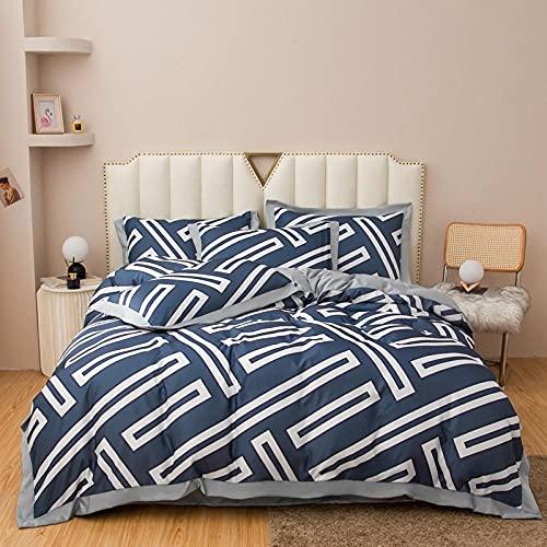 juego de ropa de cama 160x200,Lavar el conjunto de cuatro piezas de seda, cómoda sedosa cama de verano reversible de una sola almohada de la cama de la almohada Suministros de cama regalo-L_1,8 m de