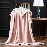 Bertte Fleece Throw Blanket Super Soft Cozy Warm Lightweight Throw for Sofa Couch Luxury Decorative Velvet Pattern Bed Blanket - 50'x 60', Pink