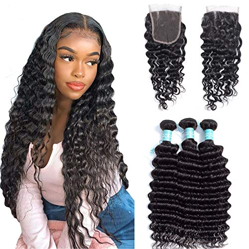 Deep Wave Bundles With Closure Brazilian Deep Curly Human Hair Bundles With 4x4Inch Lace Closure Unprocessed Weave Hair Human Bundles Wet And Wavy Bundles With Closure Natural Color (18 20 22+16)